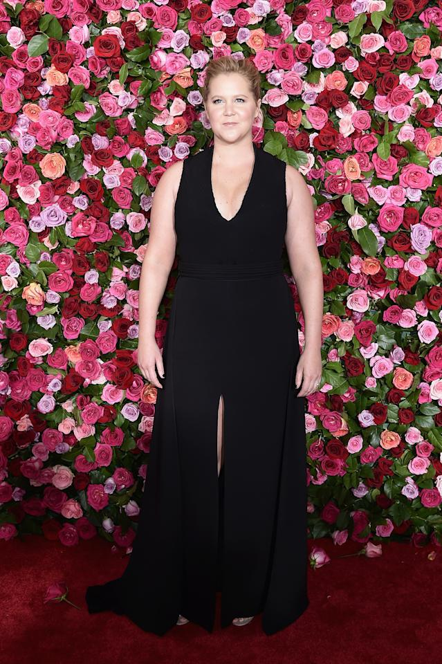 <p>Amy Schumer wears a stunning black dress designed by Brandon Maxwell. Source: Getty </p>