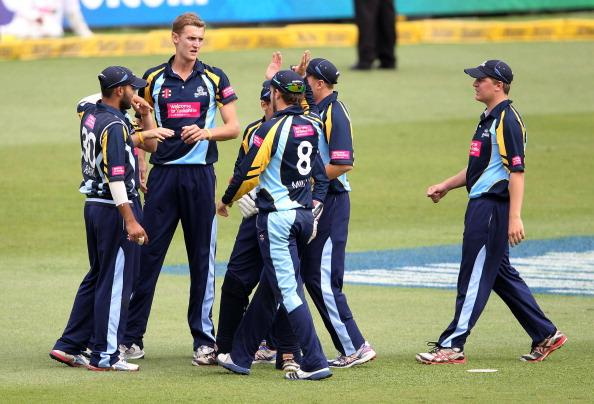 DURBAN, SOUTH AFRICA - OCTOBER 22:  Yorkshire celebrate a wicket during the Champions League twenty20 match between Chennai Super Kings and Yorkshire Carnegie at Sahara Stadium Kingsmead on October 22, 2012 in Durban, South Africa. (Photo by Anesh Debiky / Gallo Images/Getty Images)