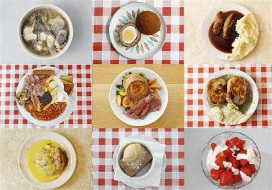 Jellied eels (top row L-R), scotch eggs, bangers and mash (middle row L-R), a full English breakfast, roast beef and yorkshire pudding, pie and mash in liquor, crumble and custard (bottom row L-R), bread and butter pudding and strawberries and cream.