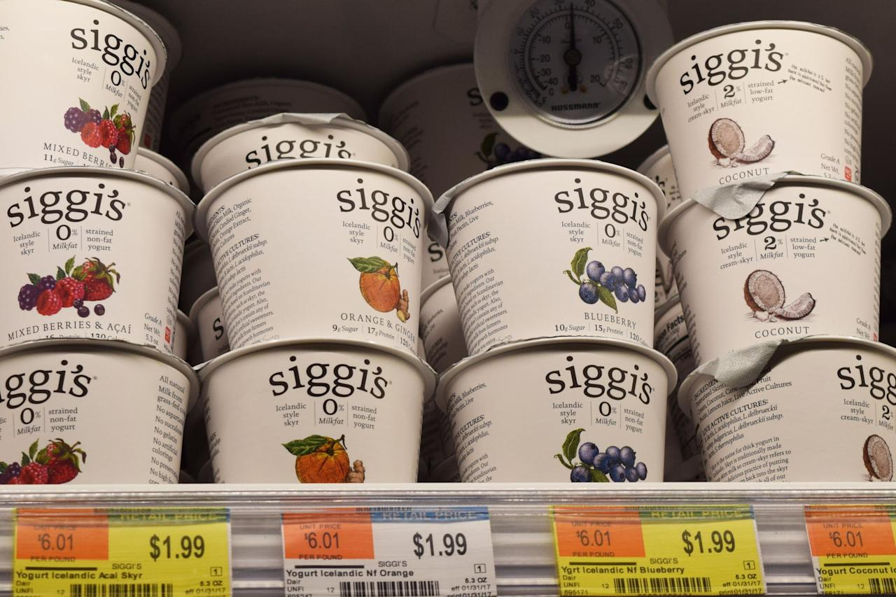 <p>Siggi's Icelandic Skyr-Style Yogurt, which is like an ultracreamy Greek yogurt, comes in a huge variety of flavors and is super easy to grab and go in the mornings or while running errands. </p>