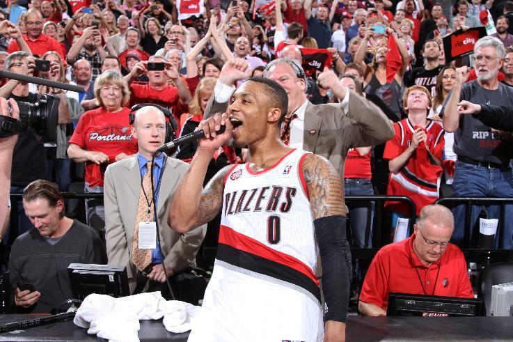 PORTLAND, OR - MAY 2: Damian Lillard #0 of the Portland Trail Blazers after the game against the Houston Rockets in Game Six of the Western Conference Quarterfinals during the 2014 NBA Playoffs on May 2, 2014 at the Moda Center in Portland, Oregon. (Photo by Sam Forencich/NBAE via Getty Images)