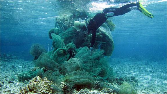 Russell Reardon dives in the waters of Midway Atoll on March 31, 2013, to remove a fishing net from a coral reef.