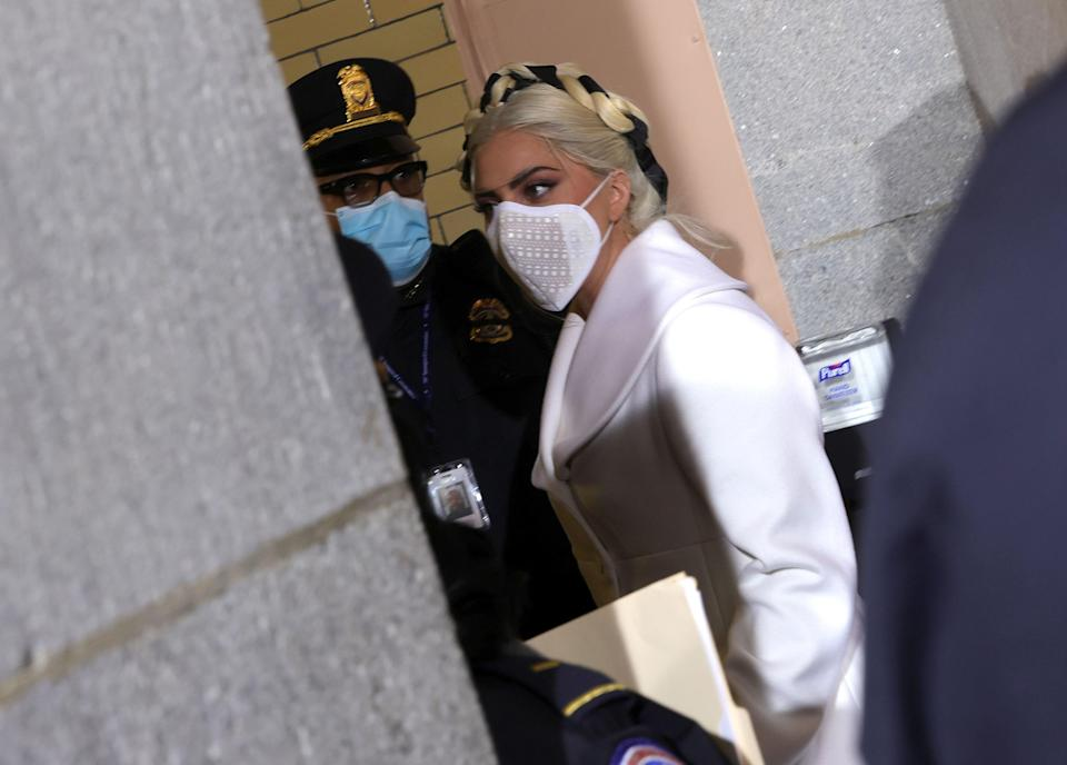 US singer Lady Gaga arrives for the inauguration of US President-elect Joe Biden at the US Capitol on January 20, 2021 in Washington, DC. - Lady Gaga is scheduled to sing the US National Anthem. (Photo by Win McNamee / POOL / AFP) (Photo by WIN MCNAMEE/POOL/AFP via Getty Images)
