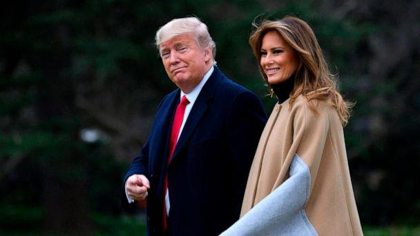 PHOTO: President Donald Trump and first lady Melania Trump walk to Marine One before departing from the South Lawn of the White House on Jan. 31, 2020, in Washington. (Andrew Caballero-reynolds/AFP via Getty Images)