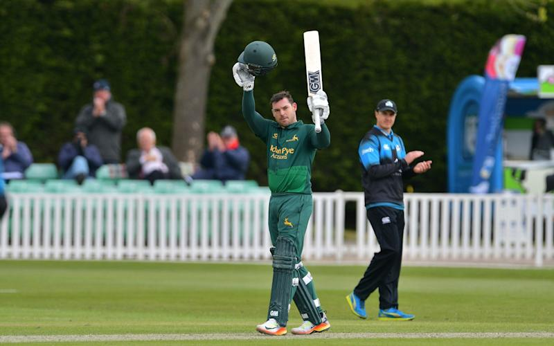 Michael Lumb celebrates his century - Credit: Rex Features