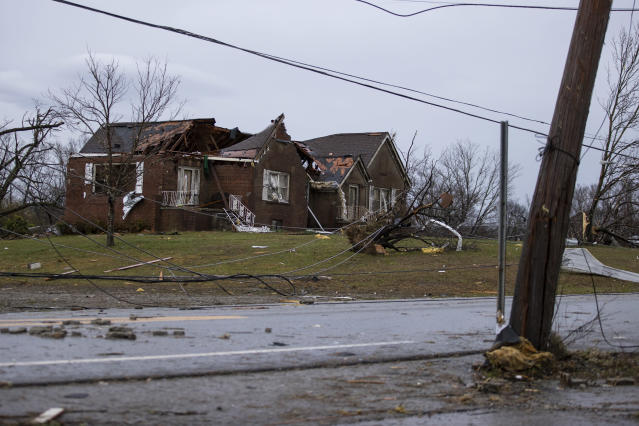 A home is shown destroyed by high winds from one of several tornadoes that tore through the state overnight on March 3, 2020 in Cookeville, Tennessee. At least 19 people were killed and scores more injured in storms across the state that caused severe damage in downtown Nashville. (Brett Carlsen/Getty Images)