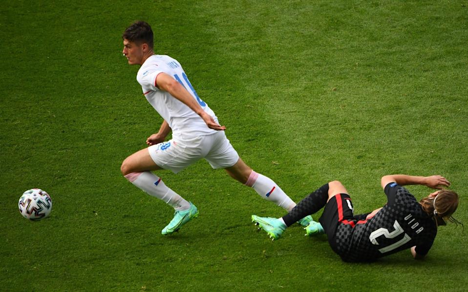 Patrik Schick (L) of the Czech Republic in action against Domagoj Vida of Croatia during the UEFA EURO 2020 group D preliminary round soccer match between Croatia and the Czech Republic in Glasgow, Britain, 18 June 2021. Group D Croatia vs Czech Republic, Glasgow, United Kingdom - Andy Buchanan/POOL/EPA-EFE/Shutterstock