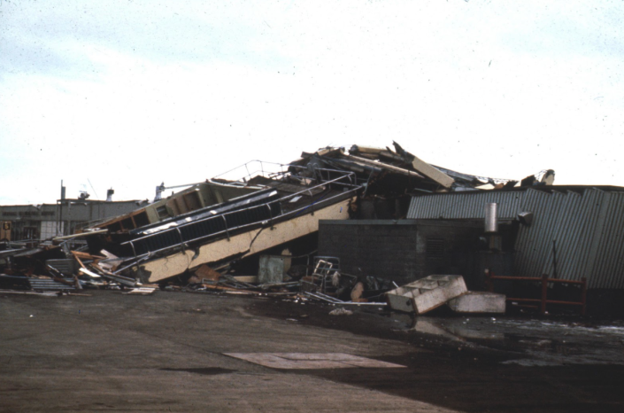 Anchorage International Airport, Anchorage, Alaska. 1964. Damage From Seismic Vibration: Damage to Buildings Courtesy USGS