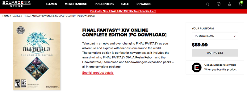 a listing for final fantasy xiv complete edition sold out on square enix store