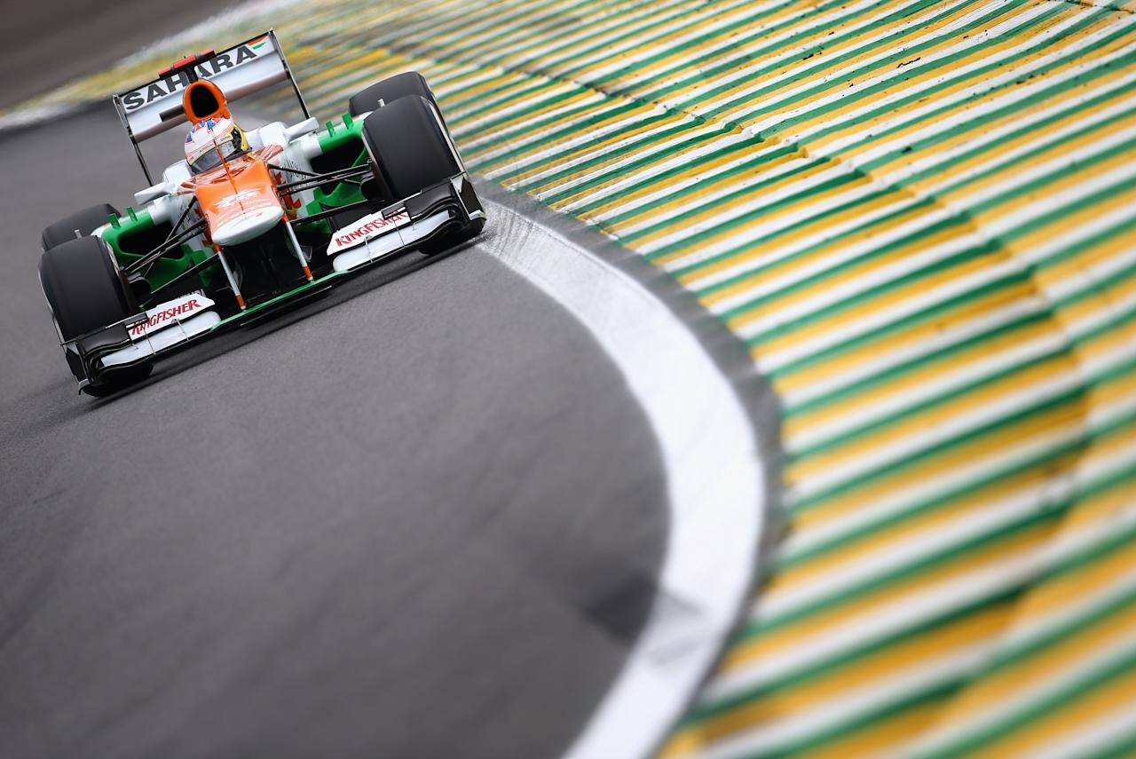 SAO PAULO, BRAZIL - NOVEMBER 24:  Paul di Resta of Great Britain and Force India drives during qualifying for the Brazilian Formula One Grand Prix at the Autodromo Jose Carlos Pace on November 24, 2012 in Sao Paulo, Brazil.  (Photo by Clive Mason/Getty Images)