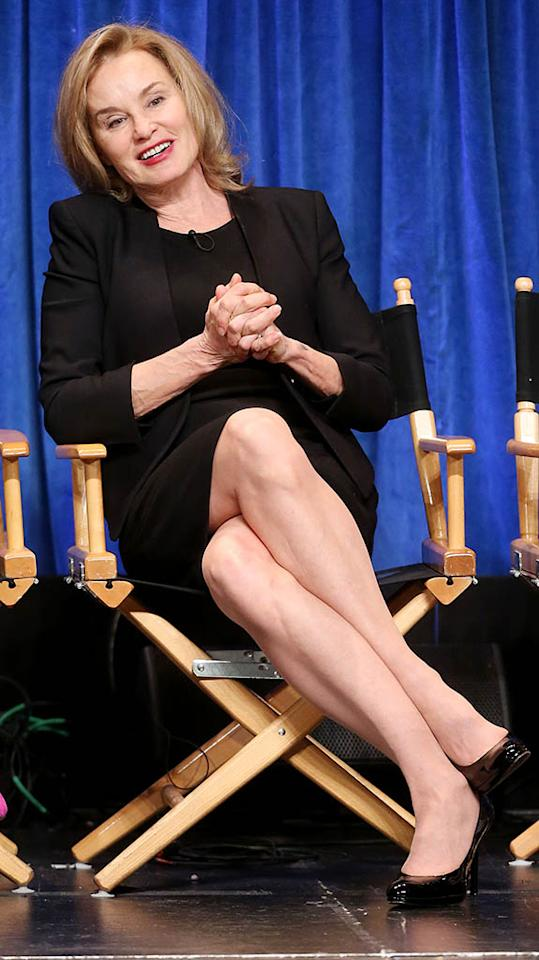 "Jessica Lange speaks during The Paley Center For Media's PaleyFest 2013 Honoring ""American Horror Story: Asylum"" at the Saban Theatre on March 15, 2013 in Beverly Hills, California."