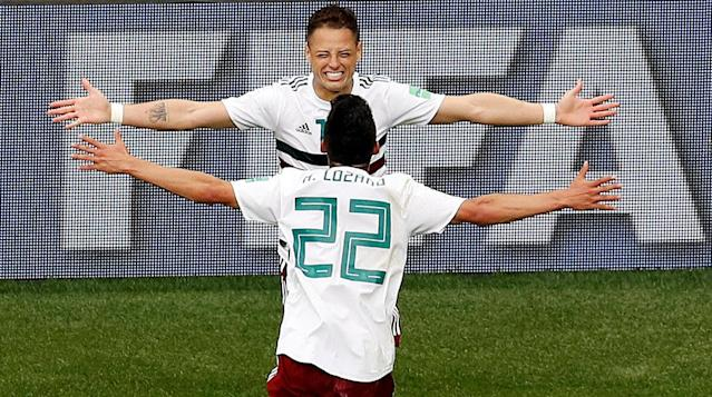 Soccer Football - World Cup - Group F - South Korea vs Mexico - Rostov Arena, Rostov-on-Don, Russia - June 23, 2018 Mexico's Javier Hernandez celebrates with Hirving Lozano after scoring their second goal REUTERS/Darren Staples TPX IMAGES OF THE DAY