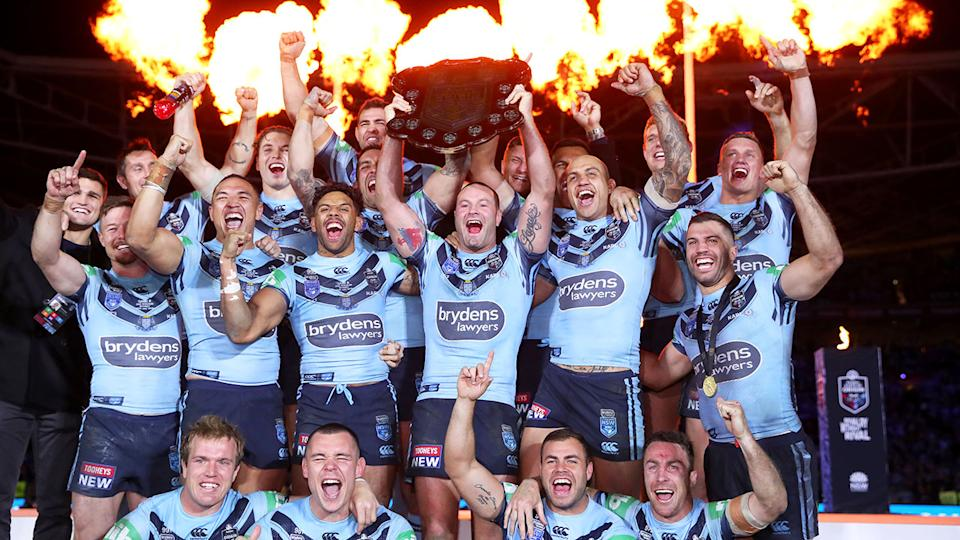 Pictured here, the NSW side celebrate their 2019 Origin series victory.