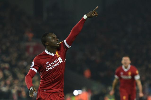 "<a class=""link rapid-noclick-resp"" href=""/soccer/players/sadio-mané/"" data-ylk=""slk:Sadio Mane"">Sadio Mane</a> celebrates his goal for Liverpool against Manchester City. (Getty)"