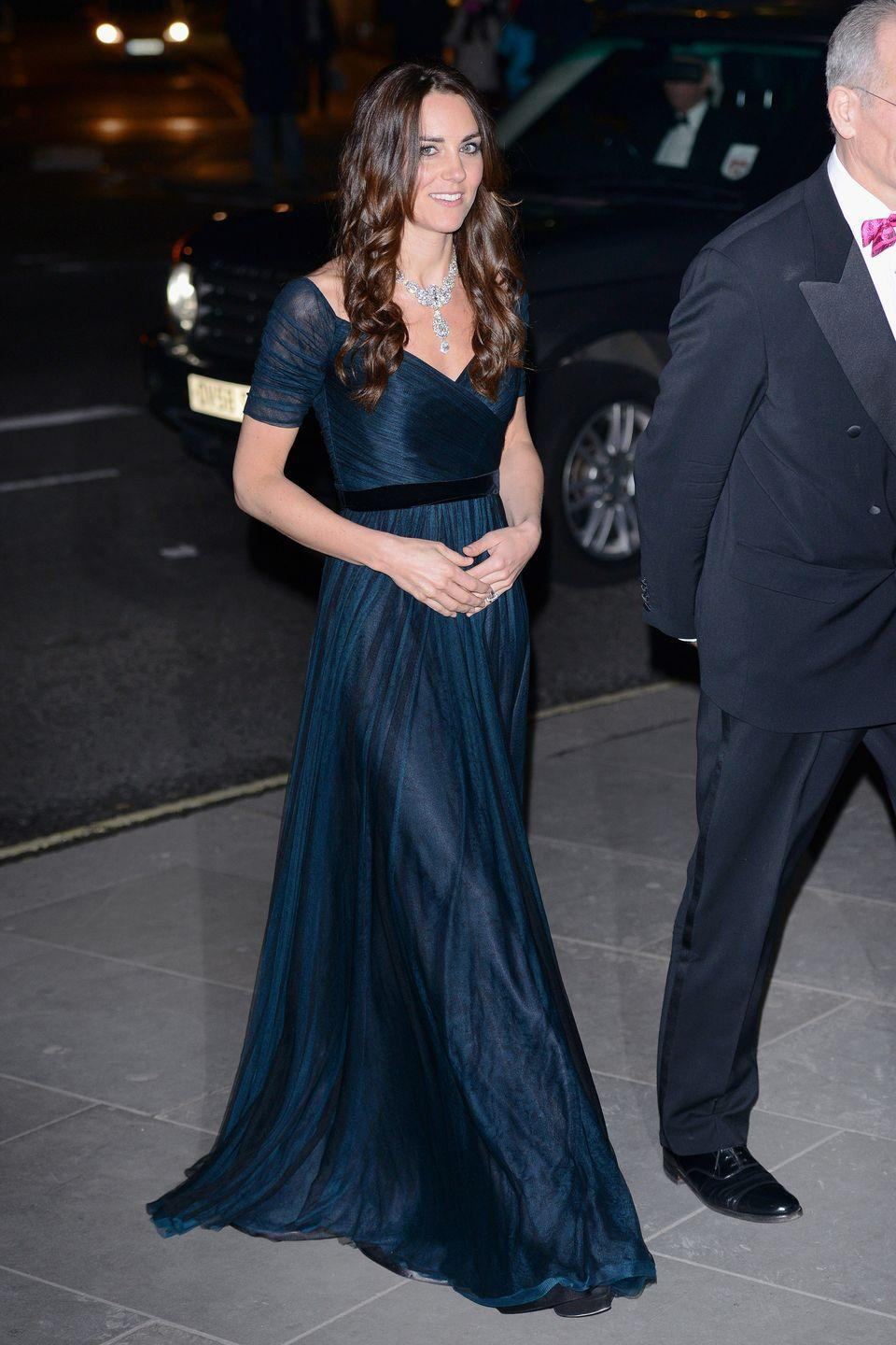<p>Attending a gala at the National Portrait Gallery in Jenny Packham</p>