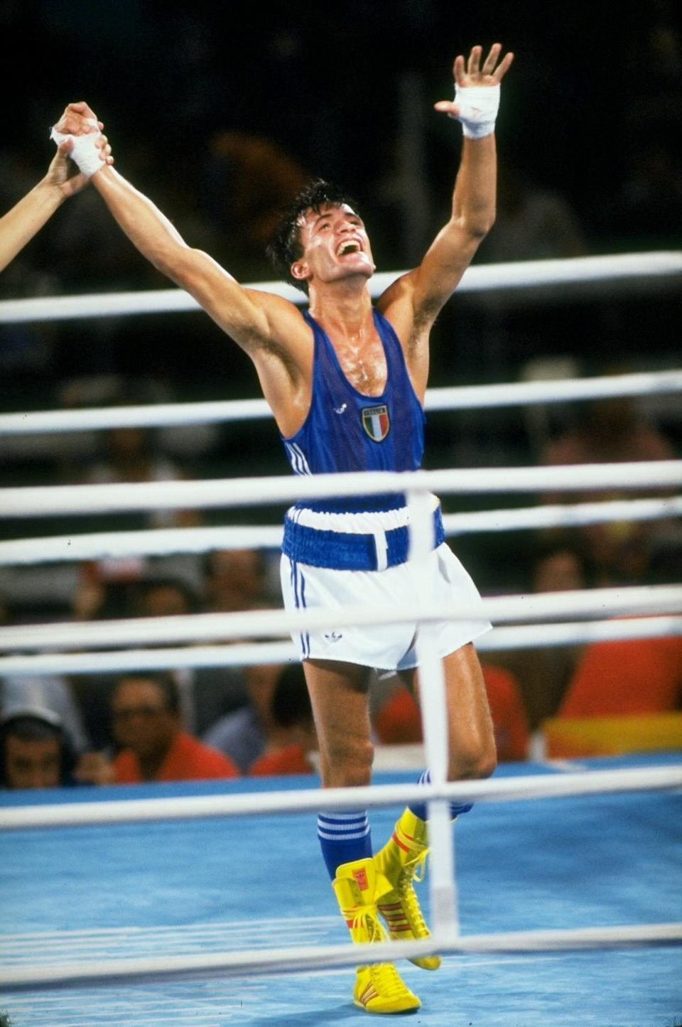 1984: Maurizio Stecca of Italy celebrates after winning the gold medal in the Bantamweight event during the 1984 Olympic Games in Los Angeles, California, USA. \ Mandatory Credit: Allsport UK /Allsport