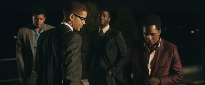 "Eli Goree, Kingsley Ben-Adir, Aldis Hodge and Leslie Odom Jr. in ""One Night in Miami"""