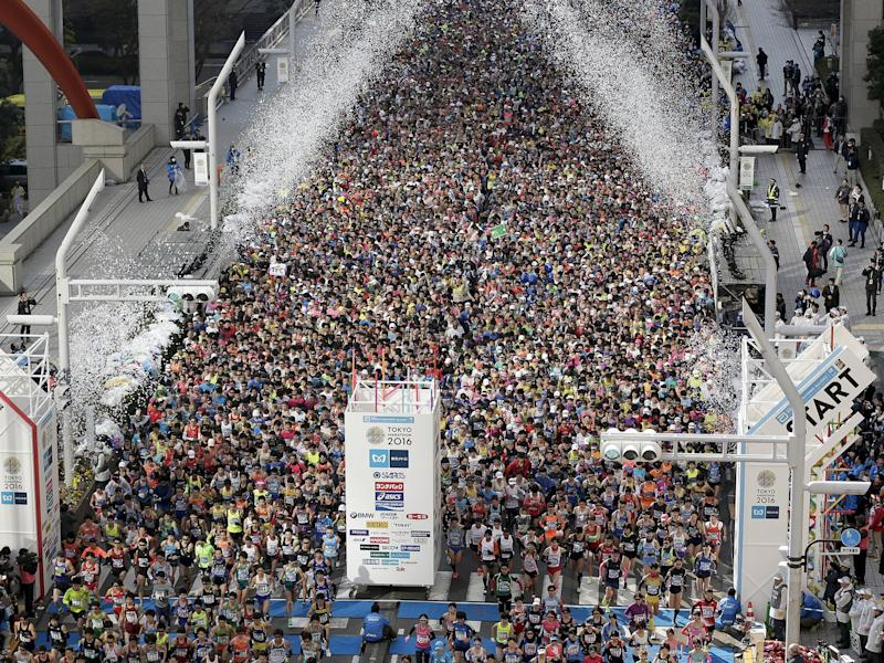 Runners fill the street in front of the Tokyo Metropolitan Government Building at the start of the Tokyo Marathon 2016 in Tokyo, Japan. Some 30,000 runners participated in the tenth edition of the Tokyo Marathon, one of the six World Marathon Majors