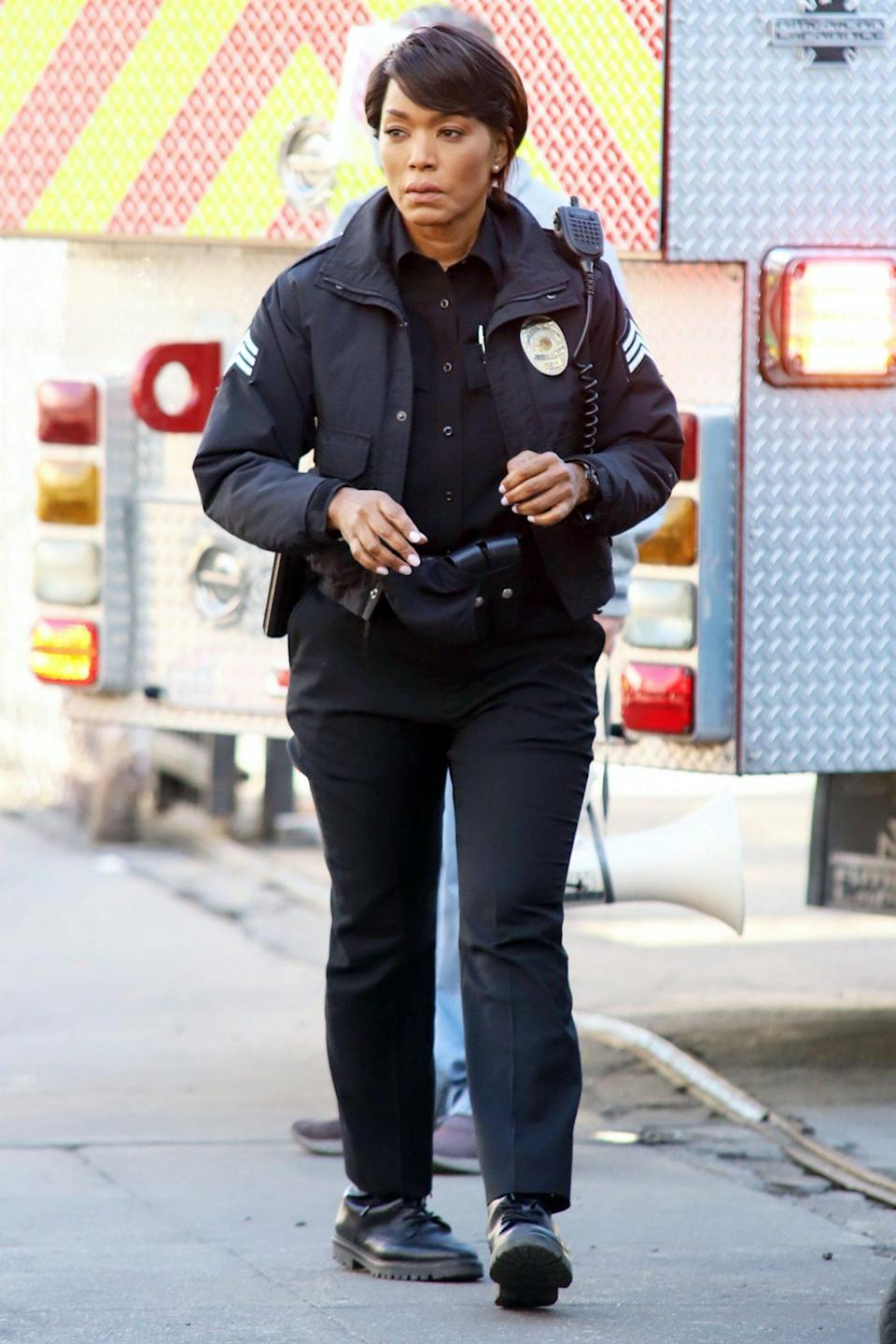 <p>Angela Bassett gears up on set of <em>Rescue 9-1-1 </em>in L.A. on Tuesday.</p>