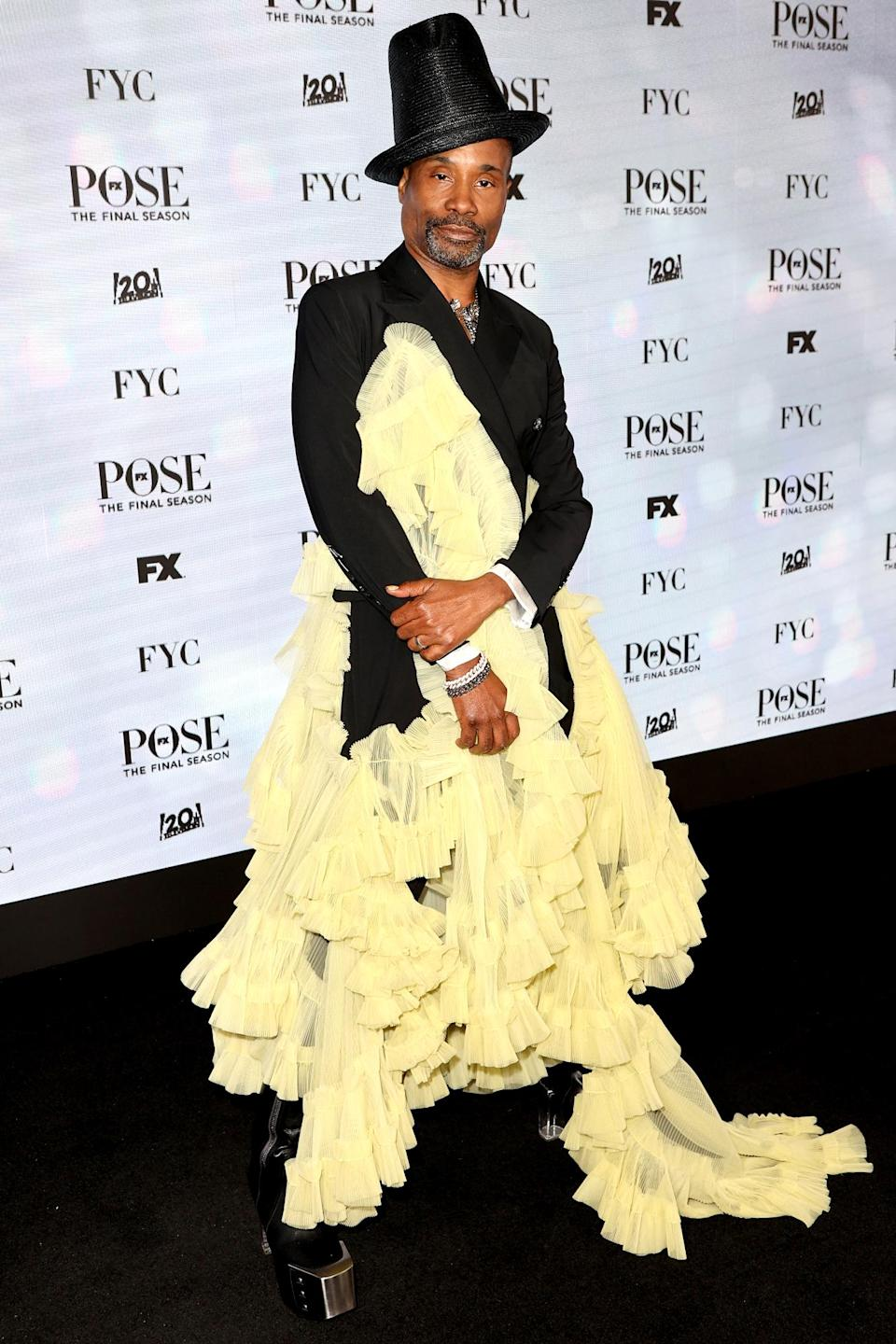 <p>Billy Porter celebrates the <em>Pose</em> finale at the FYC Drive-in Series in Pasadena.</p>