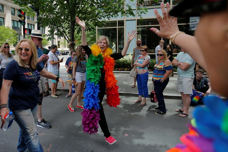 Sen. Elizabeth Warren (D-Mass.) marching in Boston's 48th Pride Parade on June 9, 2018. (Photo: Brian Snyder / Reuters)