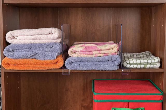 Keep your items neatly stacked on top of and beside each other with these shelf dividers. Get them on <span>Amazon</span>.