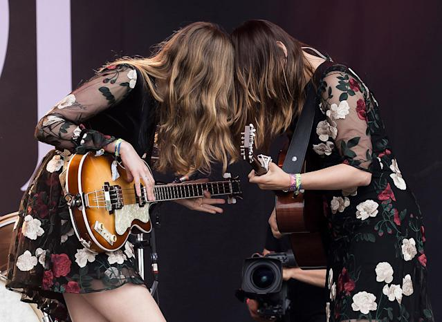 <p>Sisters Johanna Soderberg, left, and Klara Soderberg of the band 'First Aid Kit', perform at the Glastonbury music festival at Worthy Farm, in Somerset, England, Friday, June 23, 2017. (Photo: Grant Pollard/Invision/AP) </p>