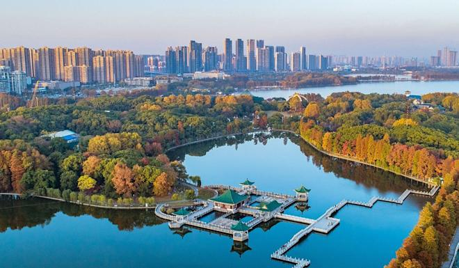 Donghu Lake is seen in this aerial photo taken over Wuhan. Photo: Xinhua