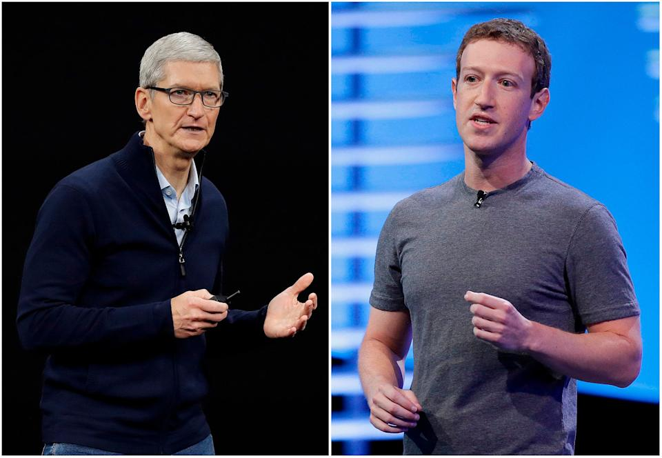 """In this combo of file photos, Apple CEO Tim Cook speaks on the new Apple campus on Sept. 12, 2017, in Cupertino, Calif., left, and Facebook CEO Mark Zuckerberg speaks at the F8 Facebook Developer Conference on April 12, 2016, in San Francisco, right. On Wednesday, March 28, 2018, Cook said his company wouldn't be in the situation that Facebook finds itself in because it doesn't sell ads based on customer data like Facebook does. Zuckerberg responded in a podcast on Monday, April 2, saying that the idea that Facebook doesn't care about its customers is """"extremely glib."""" (AP Photo/Eric Risberg, File)"""
