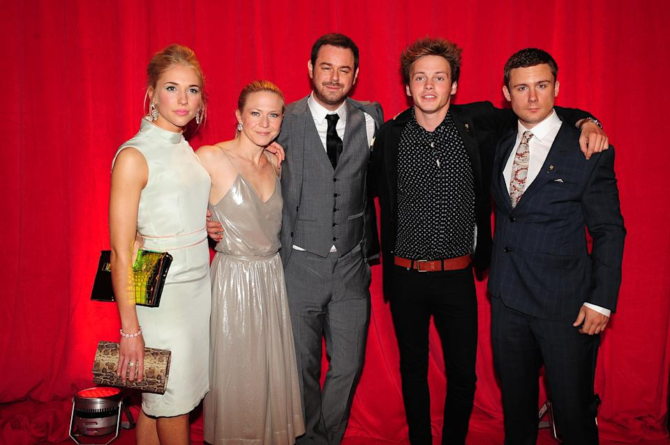 (Left to Right) Maddy Hill, Kellie Bright, Danny Dyer, Sam Strike and Danny-Boy Hatchard arriving for the 2014 British Soap Awards at The Hackney Empire, 291 Mare St, London.