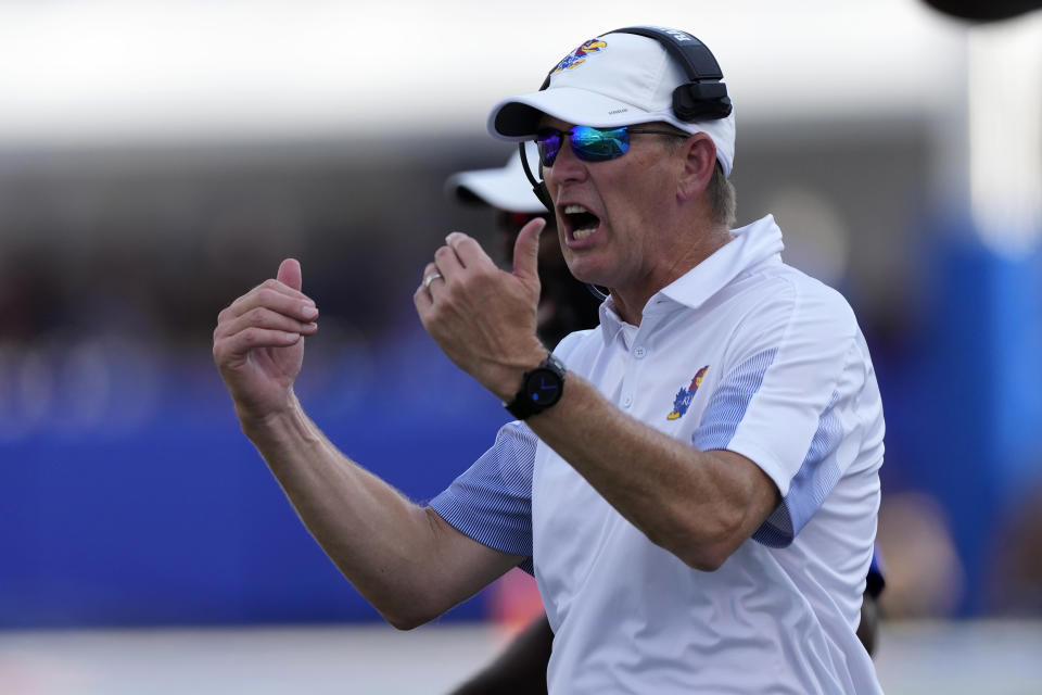 Kansas head coach Lance Leipold calls his team over during the second half of an NCAA college football game against Baylor in Lawrence, Kan., Saturday, Sept. 18 2021. Baylor defeated Kansas 45-7. (AP Photo/Orlin Wagner)