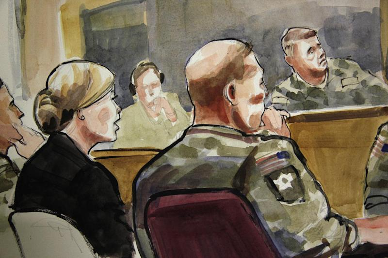 In this detail of a courtroom sketch, U.S. Army Staff Sgt. Robert Bales, seated at front-right, listens Monday, Nov. 5, 2012, during a preliminary hearing in a military courtroom at Joint Base Lewis McChord in Washington state. Bales is accused of 16 counts of premeditated murder and six counts of attempted murder for a pre-dawn attack on two villages in Kandahar Province in Afghanistan in March, 2012. At upper-right is Investigating Officer Col. Lee Deneke, and seated at front-left is Bales' civilian attorney, Emma Scanlan. (AP Photo/Lois Silver)