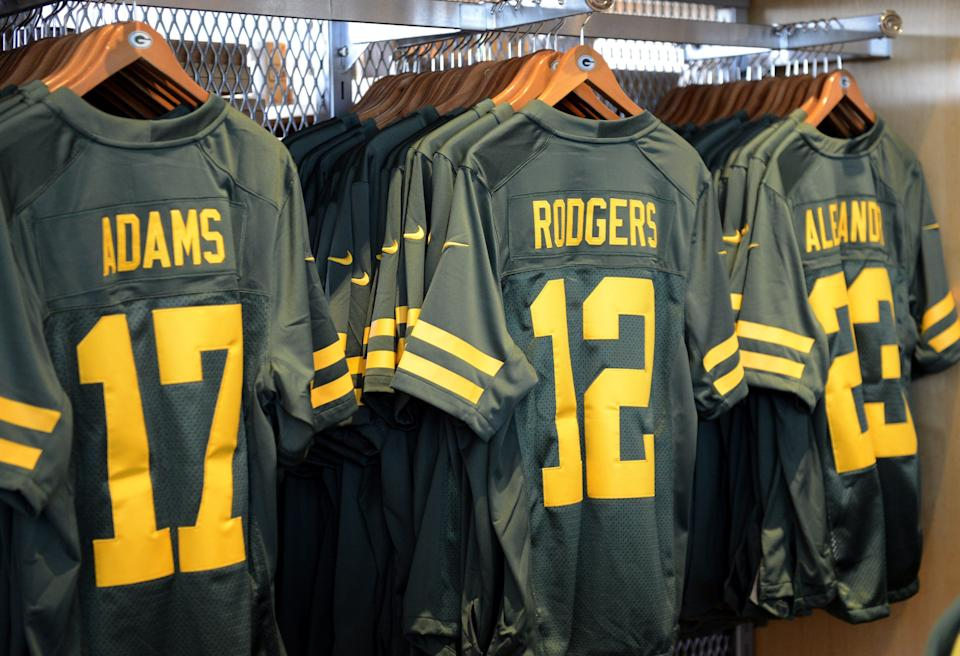 Green Bay Packers 50s Classic Uniform jerseys went on sale Thursday  in the Packers Pro Shop at Lambeau Field in Green Bay.