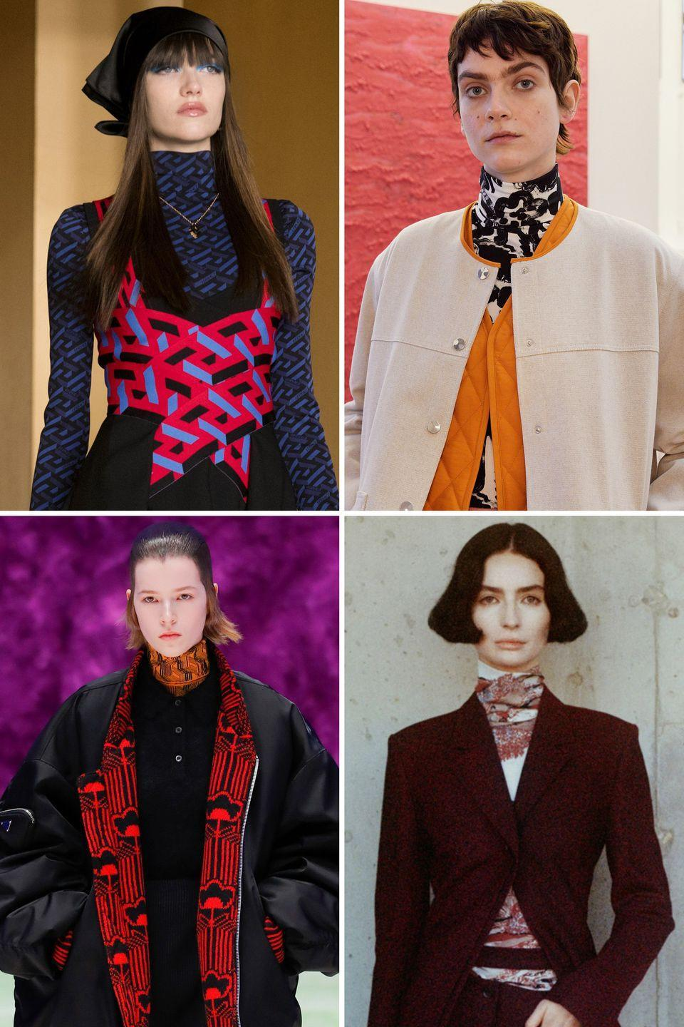 <p>Layering a patterned turtleneck is the styling hit of the Fall runways. Mixed with a pop of pattern, it was a winning combination. </p><p><strong>Insider tip:</strong> A more graphic smaller scale take on print is easier to integrate and play with.</p><p><em>Pictured: Versace, Arthur Arbesser, Prada, Proenza Schouler</em></p>