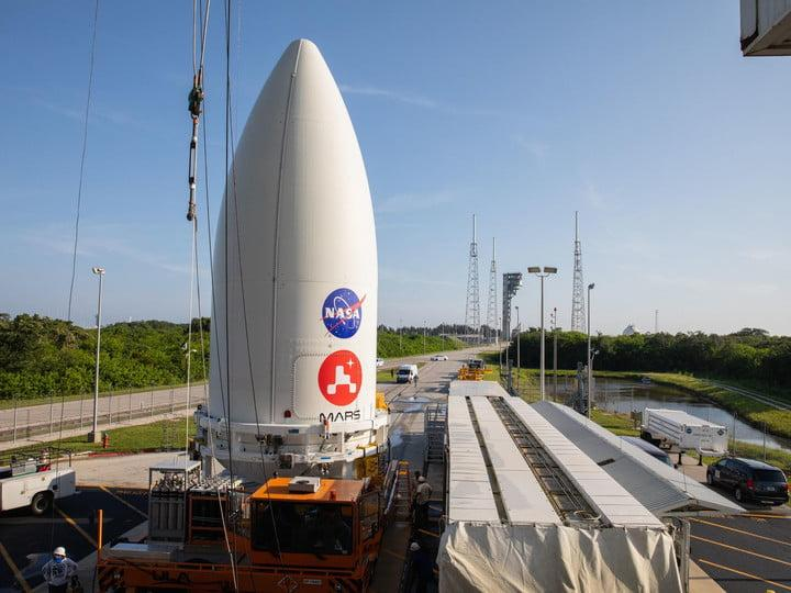 The payload fairing, or nose cone, containing the Mars 2020 Perseverance rover