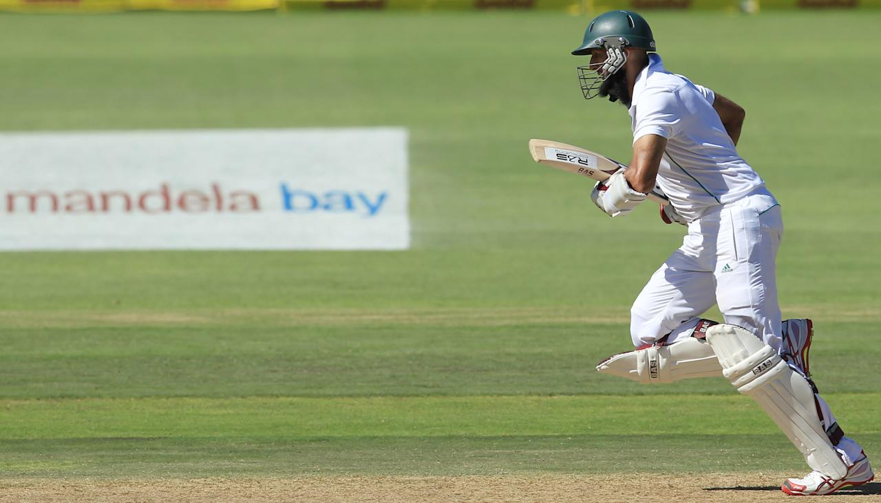 South Africa's batsman Hashim Amla, runs between the wickets on the third day of their 2nd cricket test match against Australia at St George's Park in Port Elizabeth, South Africa, Saturday, Feb. 22, 2014. (AP Photo/ Themba Hadebe)