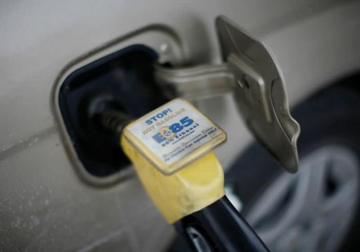 FILE PHOTO: E85 Ethanol biodiesel fuel is shown being pumped into a vehicle at a gas station in Nevada, Iowa