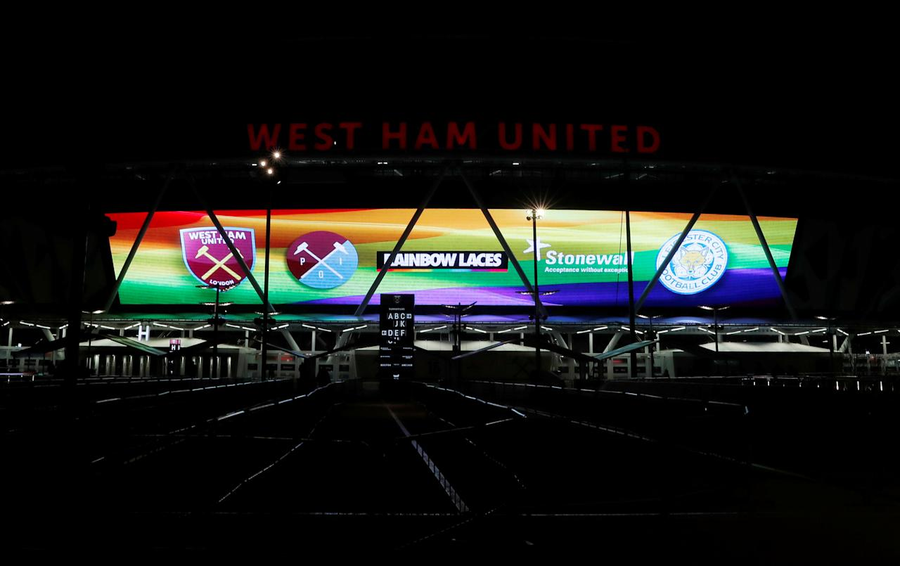 "Soccer Football - Premier League - West Ham United vs Leicester City - London Stadium, London, Britain - November 24, 2017   General view of a display in reference to the Premier League Stonewall Rainbow Laces campaign outside the stadium before the match    Action Images via Reuters/Andrew Couldridge  EDITORIAL USE ONLY. No use with unauthorized audio, video, data, fixture lists, club/league logos or ""live"" services. Online in-match use limited to 75 images, no video emulation. No use in betting, games or single club/league/player publications. Please contact your account representative for further details."