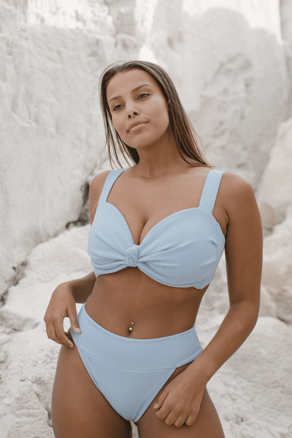 <p>An ultraflattering ribbed bikini, like this <span>Montce Swim Peri Rib Hayden Bikini Top</span> ($152) and <span>Tamarindo Bikini Bottom</span> ($102), feels comfortable and looks good.</p>