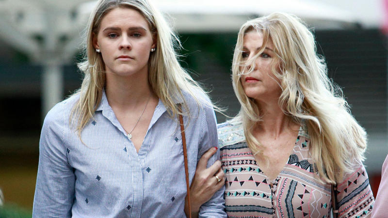 Shayna Jack, pictured here after a hearing with the Australian Sports Anti-Doping Agency in Brisbane.