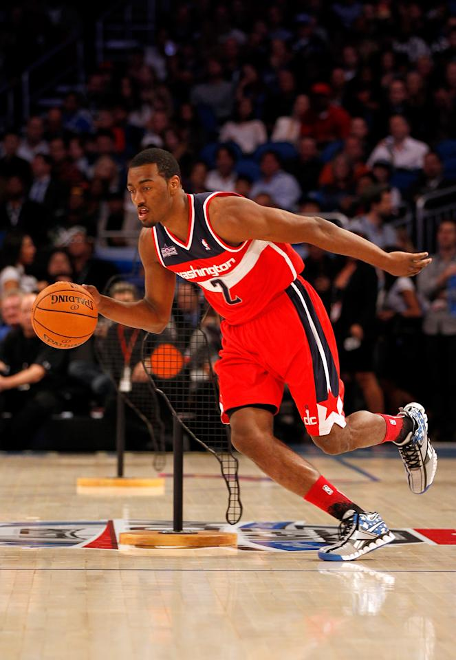 ORLANDO, FL - FEBRUARY 25:  John Wall of the Washington Wizards competes during the Taco Bell Skills Challenge part of 2012 NBA All-Star Weekend at Amway Center on February 25, 2012 in Orlando, Florida.  NOTE TO USER: User expressly acknowledges and agrees that, by downloading and or using this photograph, User is consenting to the terms and conditions of the Getty Images License Agreement.  (Photo by Mike Ehrmann/Getty Images)