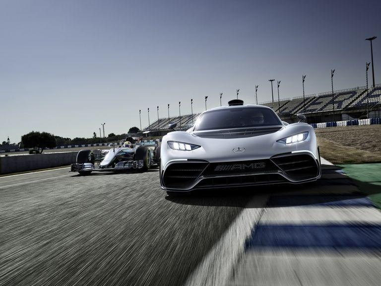 "<p>Mercedes decided it would be a good idea to make a Formula 1-engined hypercar, and call it the ""<a href=""https://www.roadandtrack.com/new-cars/future-cars/a25954054/mercedes-amg-one-front-drive-electric-mode/"" target=""_blank"">One</a>."" The rear wheels are spun by a 1.6-liter turbocharged V-6 engine and an electric motor, while the front wheels are spun solely by two additional electric motors. </p>"
