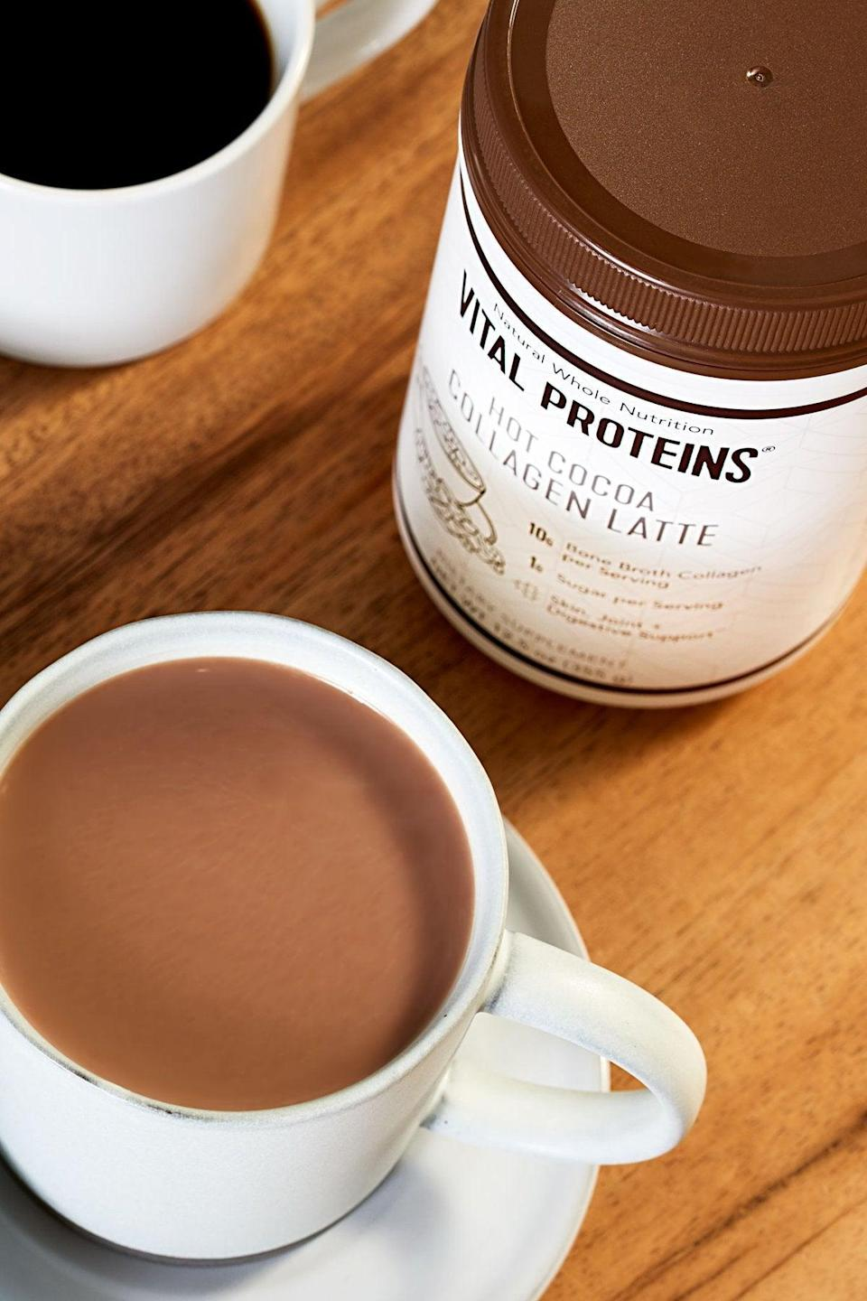 """<h2>Vital Proteins Hot Cocoa Collagen Latte</h2><br>""""I'm picky with powder supplements. I'm not a fan of most flavors or textures, and I usually end up falling off the wagon. But this <a href=""""https://www.refinery29.com/en-us/collagen-supplements-benefits-skin"""" rel=""""nofollow noopener"""" target=""""_blank"""" data-ylk=""""slk:collagen powder"""" class=""""link rapid-noclick-resp"""">collagen powder</a> is different — hot chocolate is one of my many guilty pleasures, and this """"latte"""" has been recently replacing my favorite cup of Swiss Miss as a nighttime snack. I'm officially hooked!"""" <em>— EG</em><br><br><strong>Vital Proteins</strong> Hot Cocoa Collagen Latte, $, available at <a href=""""https://go.skimresources.com/?id=30283X879131&url=https%3A%2F%2Fwww.vitalproteins.com%2Fproducts%2Fcollagen-latte-hot-cocoa"""" rel=""""nofollow noopener"""" target=""""_blank"""" data-ylk=""""slk:Vital Proteins"""" class=""""link rapid-noclick-resp"""">Vital Proteins</a>"""