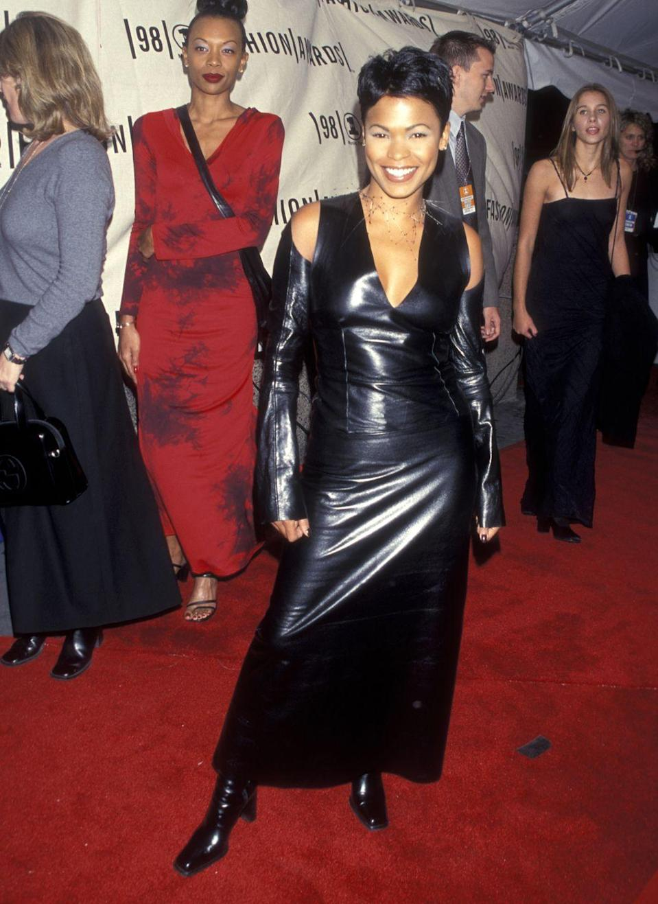 <p>At the VH1 Fashion Awards, the <em>Fresh Prince of Bel-Air </em>actress wore this edgy leather dress with cold-shoulder cutouts and a deep V-neck. </p>