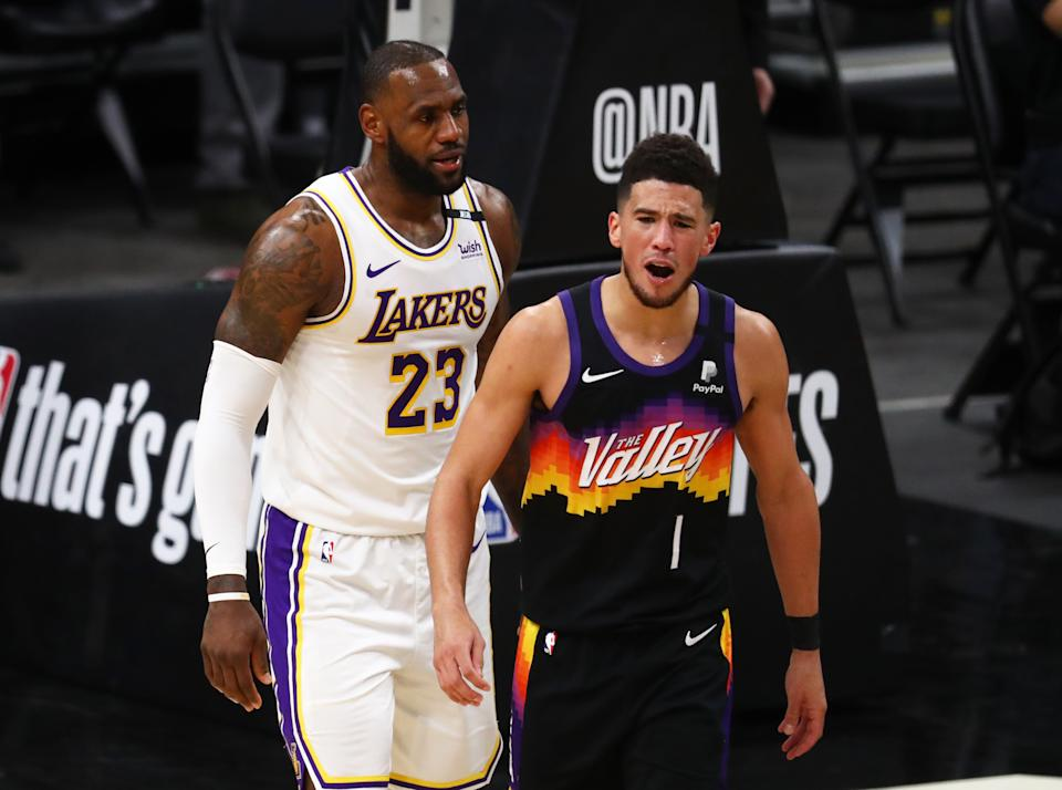 Devin Booker did not back down in his playoff debut against LeBron James. (Mark J. Rebilas-USA TODAY Sports)