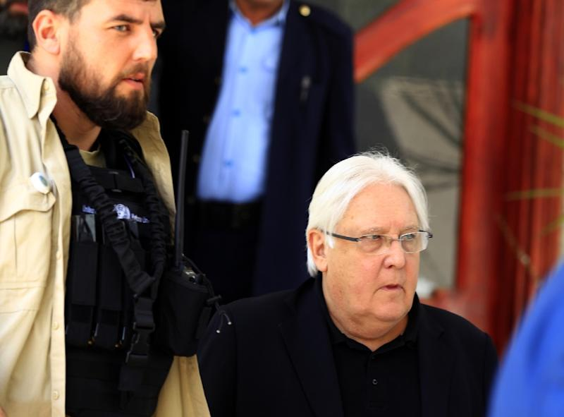 UN envoy Martin Griffiths was in rebel-held Sanaa last week to push the Huthis to agree to a redeployment of forces in Hodeida (AFP Photo/MOHAMMED HUWAIS)