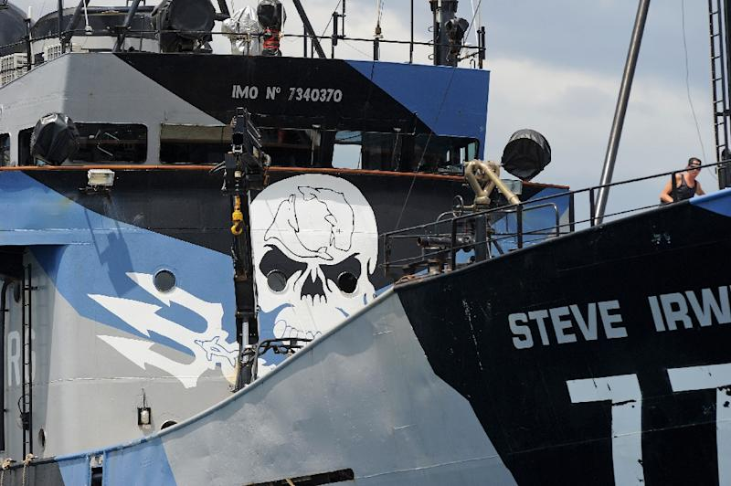 Environmental activist group Sea Shepherd's flagship Steve Irwin left Western Australia for the remote Southern Ocean on January 18, 2016, to chase and disrupt the annual Japanese whaling hunt (AFP Photo/Greg Wood)