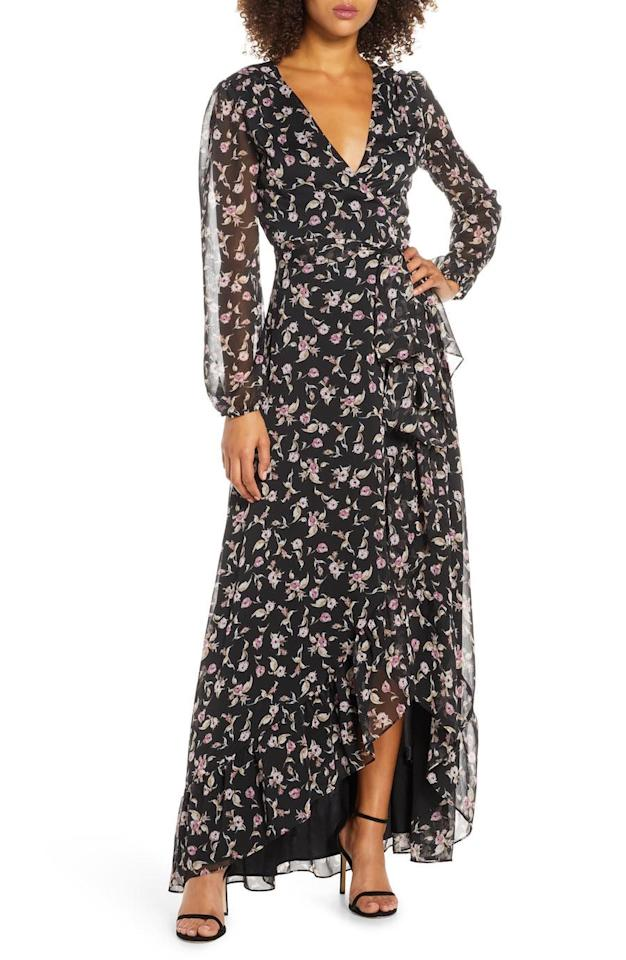 "<p>The wrap style of this floral-print gown is flattering for all body types, plus the tulip hem is footwear friendly, meaning you won't get tripped up on the dance floor.</p> <p><strong>To buy: </strong>$148; <a href=""https://click.linksynergy.com/deeplink?id=93xLBvPhAeE&mid=1237&murl=https%3A%2F%2Fshop.nordstrom.com%2Fs%2Fwayf-the-meryl-floral-long-sleeve-wrap-gown%2F5345519&u1=RS%2CFallWeddingGuestDressesThat%2527llWow%2Crsylvester805%2CWED%2CIMA%2C674327%2C201909%2CI"" target=""_blank"">nordstrom.com</a>.</p>"