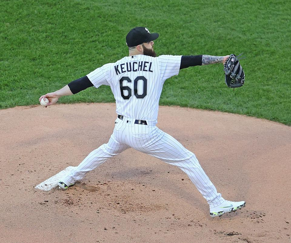 CHICAGO, ILLINOIS - MAY 12: Starting pitcher Dallas Keuchel #60 of the Chicago White Sox delivers the ball against the Minnesota Twins at Guaranteed Rate Field on May 12, 2021 in Chicago, Illinois. (Photo by Jonathan Daniel/Getty Images)