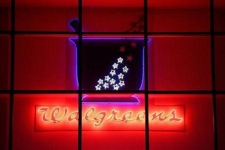 FILE PHOTO: A Walgreens pharmacy store sign is photographed in Austin, Texas